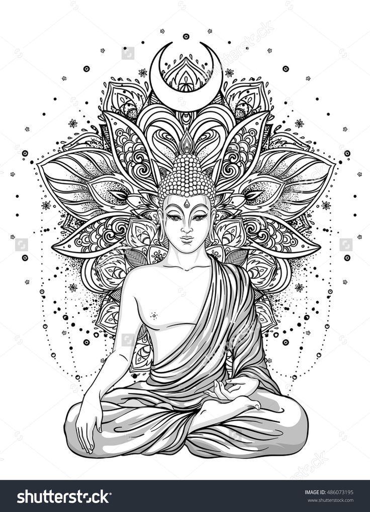 Sitting Buddha Statue over ornate mandala inspired pattern. Esoteric vintage vector illustration. Indian, Buddhism, spiritual art. Hippie tattoo, spirituality, Thai god, yoga zen Adult coloring book.