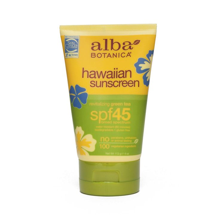 This paraben-free sunscreen by Alba Botanica uses aloe vera, green tea and palm kernel oil to protect your skin against UVA/UVB as specified by the FDA.
