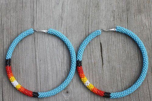 eleumne.com  Turquoise beaded hoop earrings by eleumne on Etsy