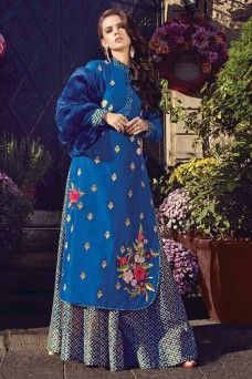 Indian Designer Blue Georgette Fabric Embroidered Plazzo Salwar Kameez  #blue #grey #plazzosuits #salwarkammez #straightsuits #fashion #modeldress #fancy #latestdesign #shalwar #printedsuits #embroideredsuits #dressmaterial #dresses #zoya #fashion #latestdesign #fancy #womenfashion #bridalwear #traditional #salwarsuits #indiancollection #london #canada #saudi #france