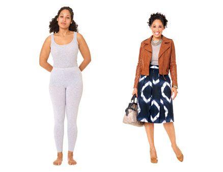 """Outfit für """"Pear Body"""" (Birnenform), Starke Hüften sind das Markenzeichen dieser Körperform."""