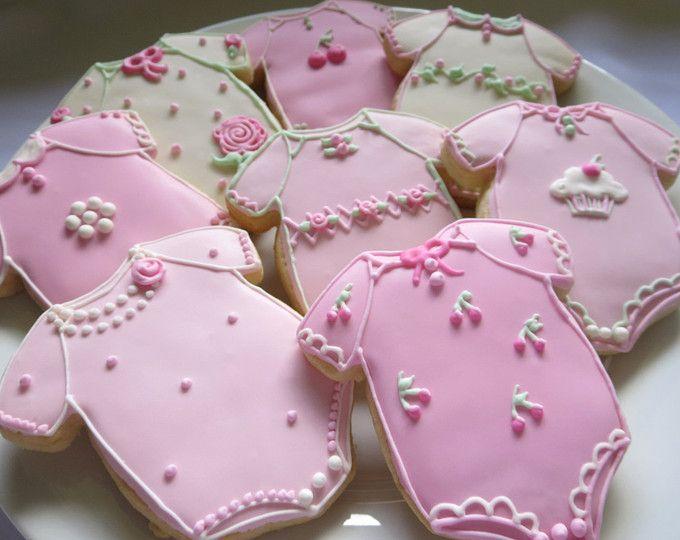 Favores de la ducha de bebé, bebé niña Cookies, mono, galletas de bebé, chica, galletas de niña, Baby Shower, niña, bebé, rosado, favores, Magdalena