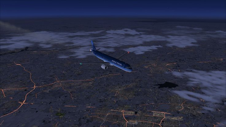 FSX with OrbX - 30,000ft above Brentwood, Billericay, Basildon & Chelmsford (UK). M25 to the left, A12 running from left to right.