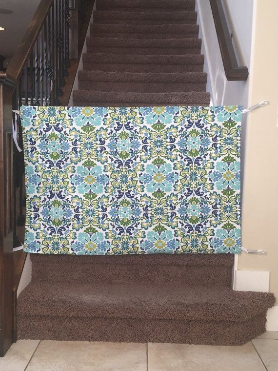 Such a fun fabric to add color to a space.   Customizable fabric baby gate.