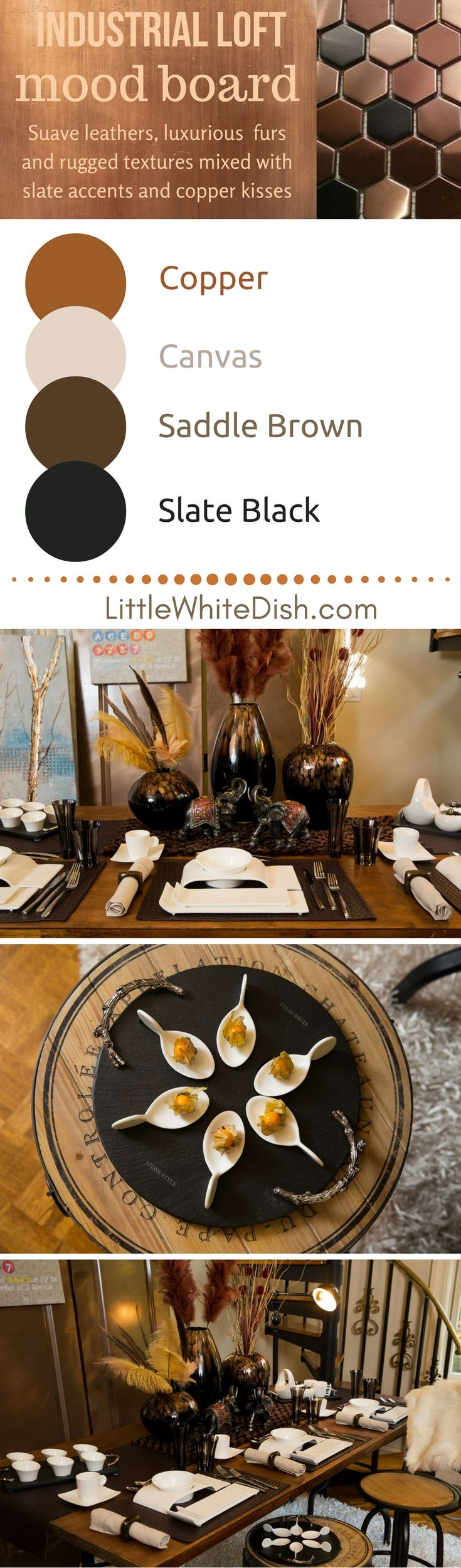 Get that industrial loft look, for your sophisticated table setting. Earthy colors, contrasting with black, and splashes of copper accents. white dinnerware, mood board, black vases, feathers, elephant sculptures, glasses natural napkins