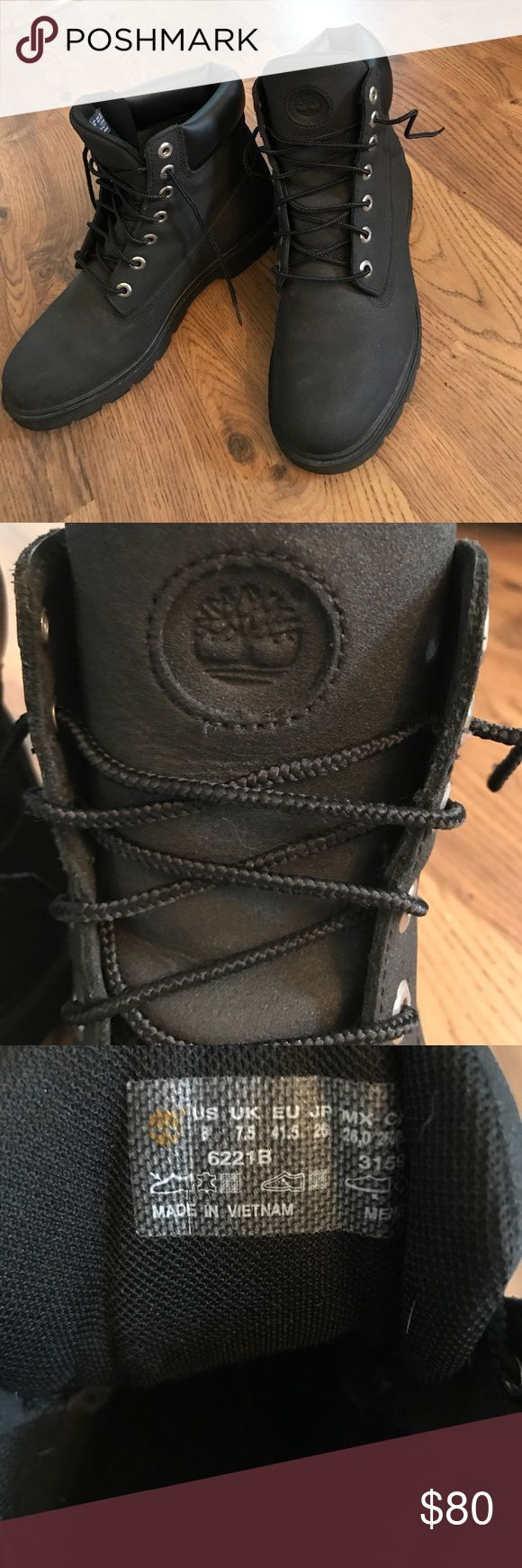Black Timberland Boots Black timbs worn once but just didn't fit right.. silver metals, size 8 mens boots, great condition! Timberland Shoes Boots