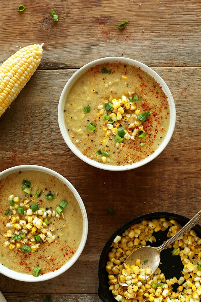 SIMPLE Summer Corn Soup! 9 ingredients and laoded with VEGGIES! #vegan #glutenfree