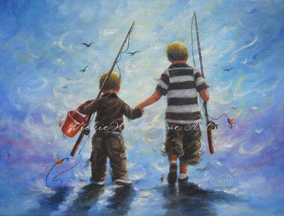 Two Little Boys Going Fishing Original Oil Painting boys room fishing paintings two brothers two boys on Etsy, $110.00
