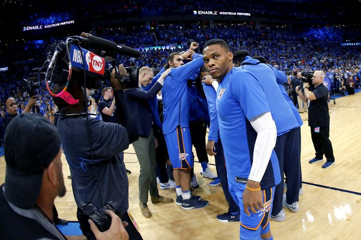 Oklahoma City's Russell Westbrook gathers with the team before an NBA basketball game between the Oklahoma City Thunder and the New York Knicks at Chesapeake Energy Arena in Oklahoma City, Thursday, Oct. 19, 2017. Photo by Bryan Terry, The Oklahoman
