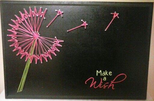 Make a Wish. Pink Dandelion String Art