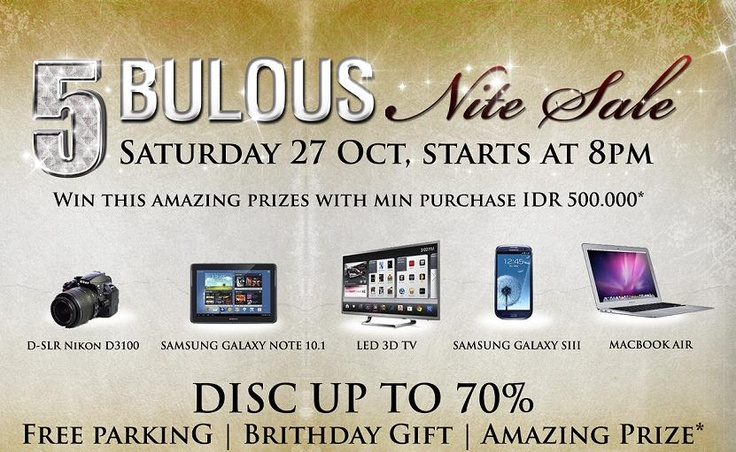 Enjoy 5 Bulous NIGHT SALE at 27 Oct 2012, start 8pm, Disc up to 70% ^_^