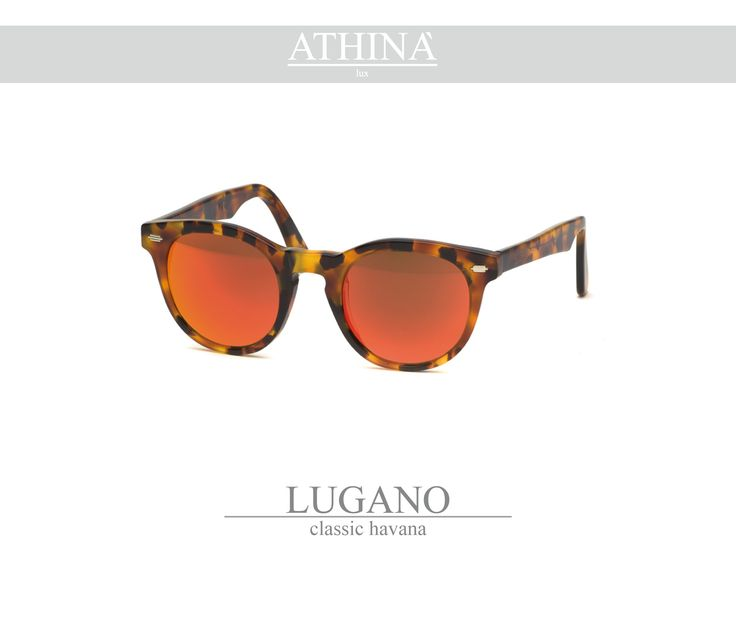 Mod. LUG0202M01 Called as the native city of Athinà Lux, Lugano is made with classic havana acetate of cellulose and mirror red lenses.