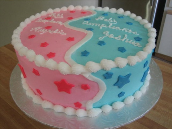 boy-girl cake - would be awesome for a gender reveal cake