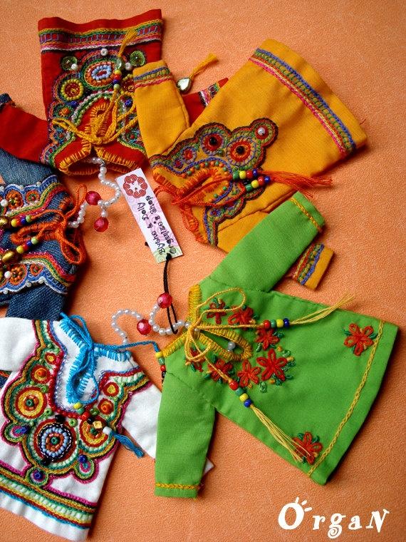 OOAKLight Little India Art Tunic Green DRESSwith hand by organ111, $20.00