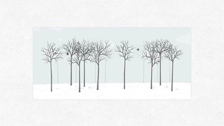 Moderný grafický dizajn a ilustrácie sú autorskou prácou Mgr. art. Jany Michalovičovej.    Dielo zobrazuje príjemný prírodný motív - zimnú krajinku a okolité vtáctvo.    Zimná krajinka je stvárnená ako les, stromy s bohatými korunami a tmavou kôrou. Krajinka pôsobí svojím spôsobom pusto, sychravé počasie toto zimné počasie len umocňuje. Jednotlivé vtáčiky túto sychravú krajinku rozbíjajú a vnášajú do diela hravosť a dynamiku. Sú to príjemné farebné akcenty v tomto diele. Farebnosť je však…