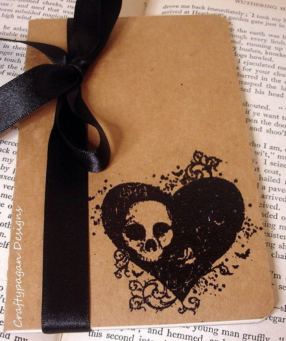 Gothic Heart and Skull Kraft Pocketbook Perfect for by craftypagan, $9.50