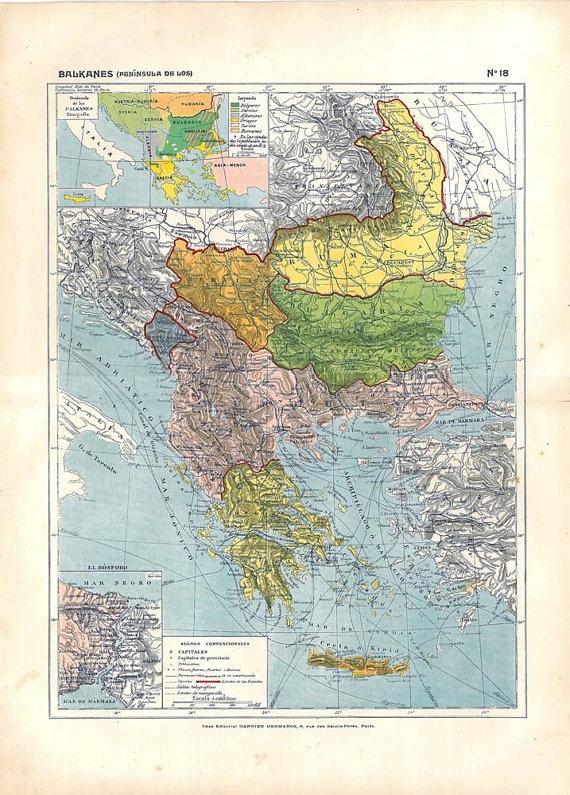Political Map Balkans Antique 1910s Home Decor to by carambas, $18.00