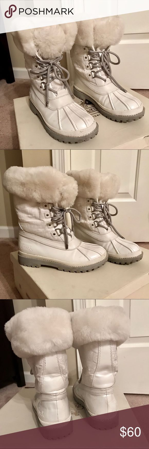 COACH white snow boots with fur GOOD CONDITION COACH snow boots. White with grey laces and sole. White fur interior. Size 7. Only worn 2-3 times. Light creasing throughout. Minor dirt and marks throughout. Soles in great condition from barely being worn. Coach Shoes Winter & Rain Boots