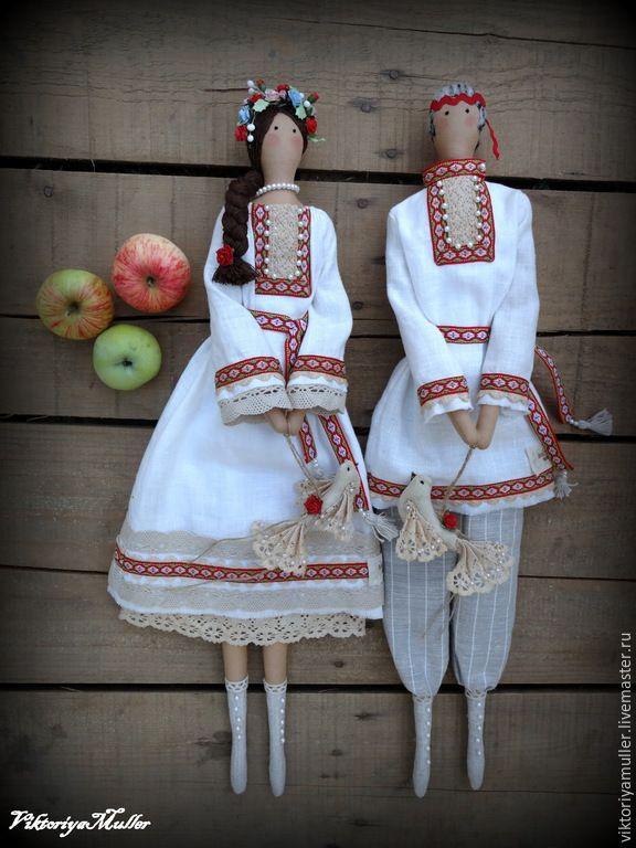 Купить кукла тильда ручной работы ИВАН ДА МАРЬЯ - белый, кукла ручной работы