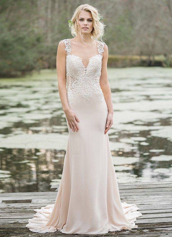 Show off your figure in this sexy chiffon and tulle gown featuring an illusion Sabrina neckline, cutout illusion sides, low back, and sweep train. https://www.lillianwest.com/lillian_west/6454