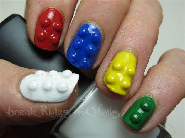 Lego nails by brkrulesntnails - Nail Art Gallery nailartgallery.nailsmag.com by Nails Magazine www.nailsmag.com #nailart