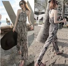 2015 FASHION LEOPARD PRINTED BACKLESS HALTER JUMPSUITS LONG PANTS BODYCON LOOSE PANTS Best Buy follow this link http://shopingayo.space