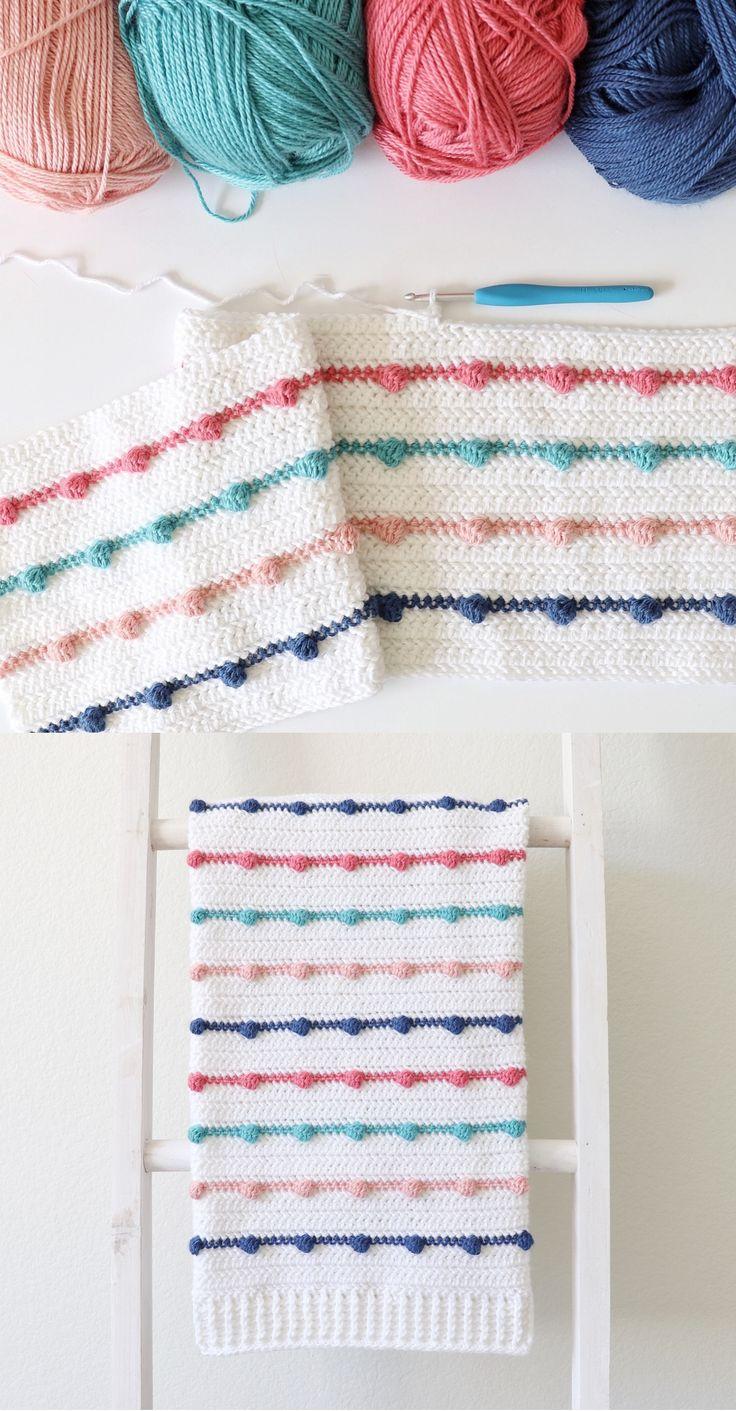 Free Pattern – Crochet Bobble Lines Baby Blanket
