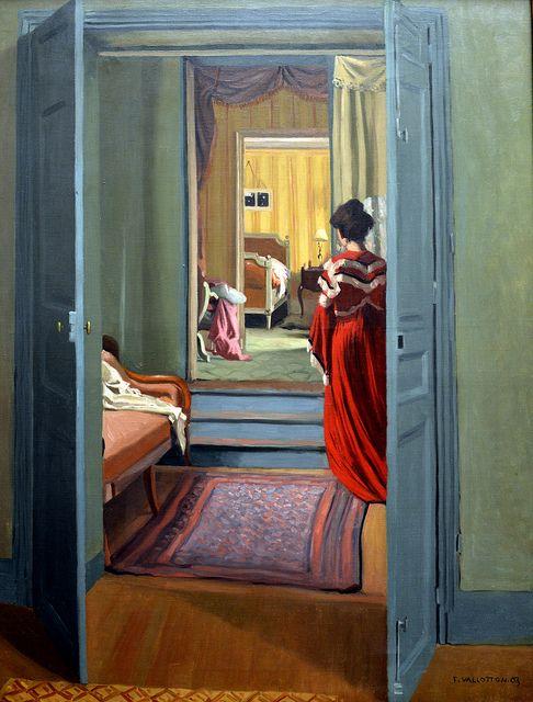 Félix Edouard Vallotton | Interieur avec femme en rouge de dos, 1903