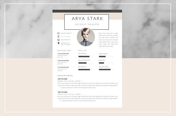 Arya Stark Resume Template and Cover  @creativework247