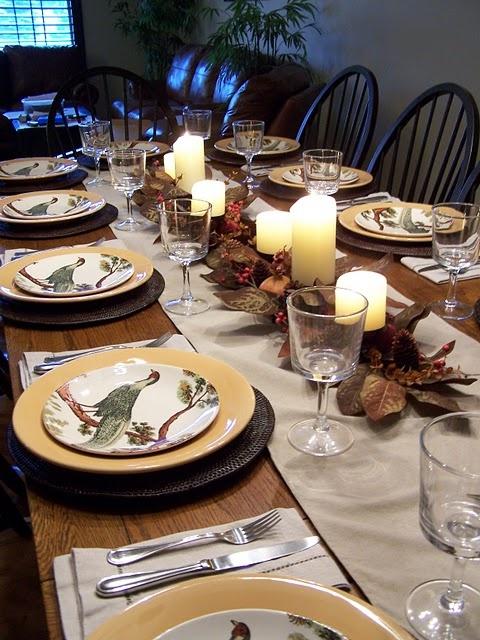 Thanksgiving Dinner=  beautiful table settings.