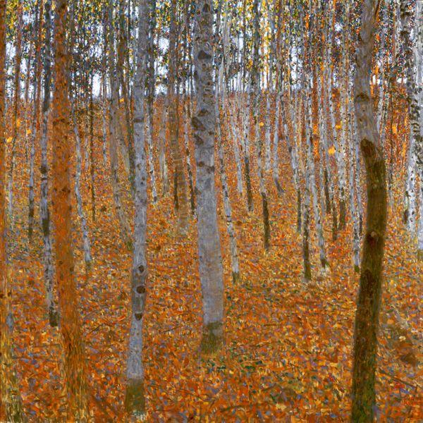Titre de l'image : Gustav Klimt - Forêt de bouleaux
