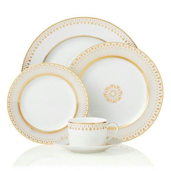 """""""Soleil Levant"""" by Bernardaud.  The gilded gold means this is definitely not dishwasher-safe."""