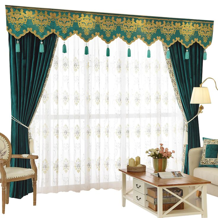 New Arrival Twynam Blue And Green Plain Waterfall And Swag Valance And  Sheers Custom Made Chenille Velvet Curtains Pair For Living Room    Custom  Curtains ... Part 32