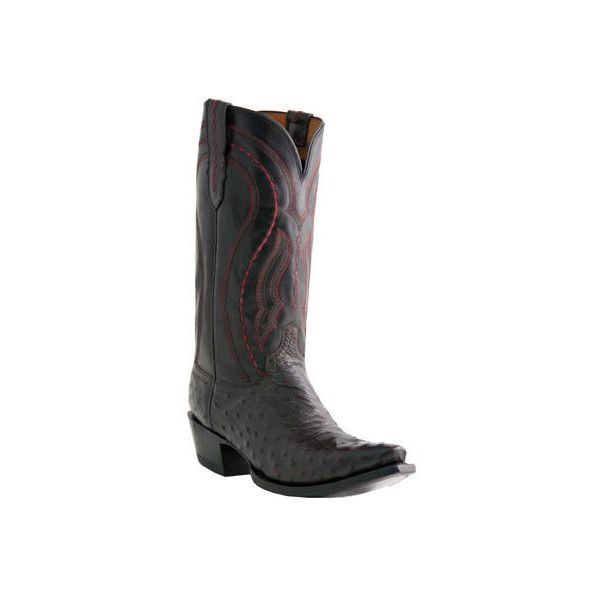 Men's Lucchese Since 1883 M1609.R4 Rounded Toe Cowboy Heel Boot ($645) ❤ liked on Polyvore featuring men's fashion, men's shoes, men's boots, black, casual, cowboy boots, lucchese mens boots, mens cowboy boots, mens shoes and mens black shoes