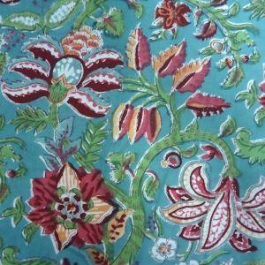 20 Sheeting Cotton Fabric Hand Block Printed Anarkali  Green SKU 11112 | Block Printed Fabric By Yard