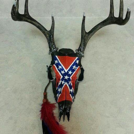 Hand painted rebel flag deer skull