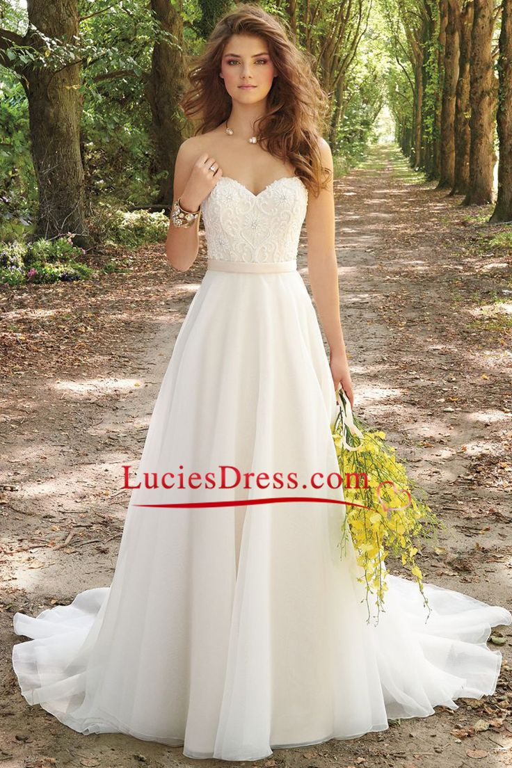 2016 A Line Wedding Dresses Sweetheart Chiffon With Lique And Beads