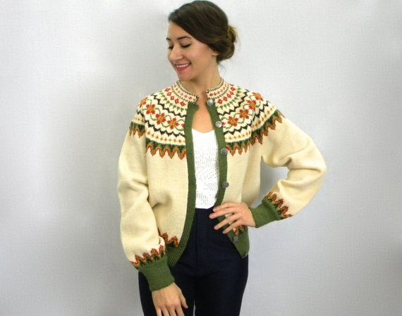 Creme Wool Norweigan Cardigan 60s by GlennasVintageShop on Etsy