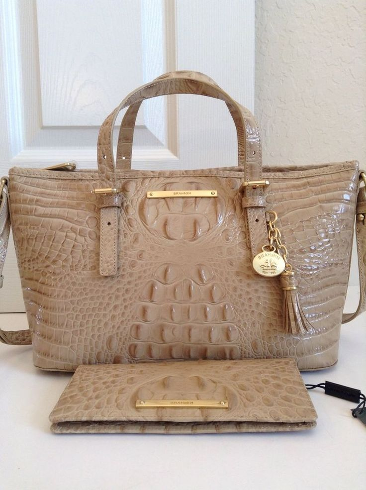 Brahmin Twill Mini Asher Tote ady Wallet Croco Melbourne Leather $320 | eBay