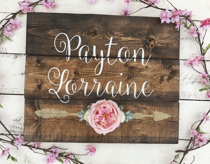 Rustic Nursery Name Arrow and Flowers personalized reclaimed pallet wood sign little girl room boho baby name  hand painted by WehuntWoodDecor on Etsy https://www.etsy.com/listing/536006243/rustic-nursery-name-arrow-and-flowers