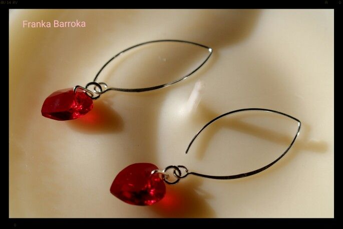 Swarovski heart shaped crystals in red and sterling silver earrings. Available now on www.etsy.com/shop/frankabarroka