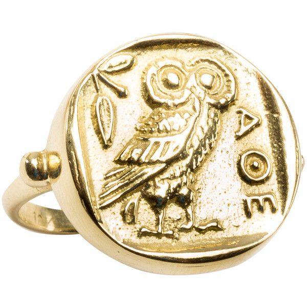 Pre-owned Athena Gold RIng ($1,200) ❤ liked on Polyvore featuring jewelry, rings, accessories, signet rings, owl jewelry, coin ring, 18k gold jewelry, 18 karat gold ring and gold coin jewelry