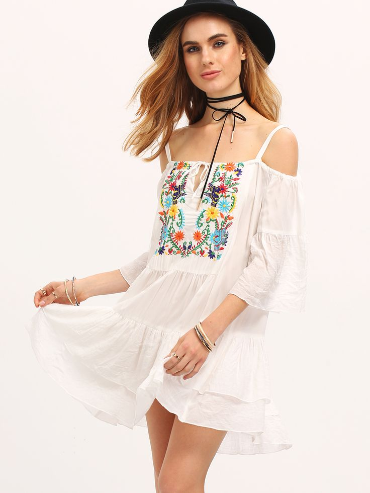 Begin+Cold+Shoulder+Embroidered+Ruffle+Dress+22.99