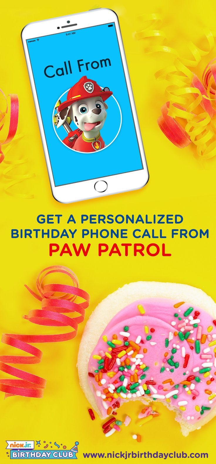 PAW Patrol is on a roll and making birthday phone calls to their fans with the Nick Jr. Birthday Club! Once you schedule your kid's personalized call from the pups, you'll get free printable party goods, party planning ideas and hacks, and everything else you'll need to make your preschooler's party a totally PAWsome success.