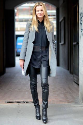 London Model Constance Jablonski sports a sleek Stella McCartney coat with second skin leather pants for a citified day look.