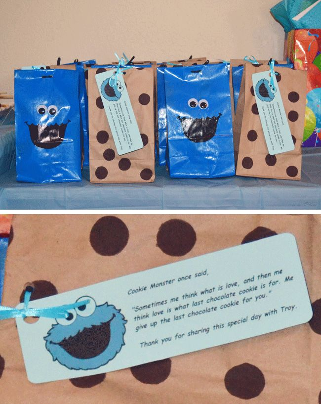 Cookie Monster favor bags with the *sweetest* inscription