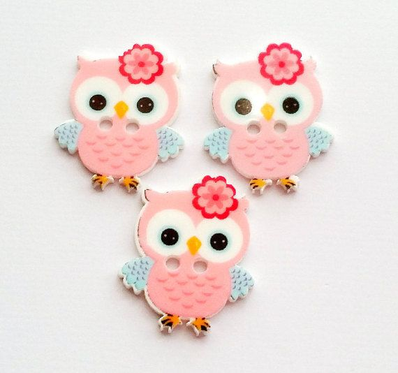 "Owl Buttons Sewing Buttons 2 Hole Buttons Pink Owls Resin ~ size 1"" x .85"" ~ acrylic ~ 5 pcs."