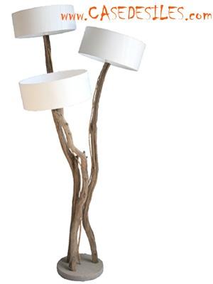 Lampe en bois flotté à 3 abat jour ARCHI3 H180 : achat pas cher