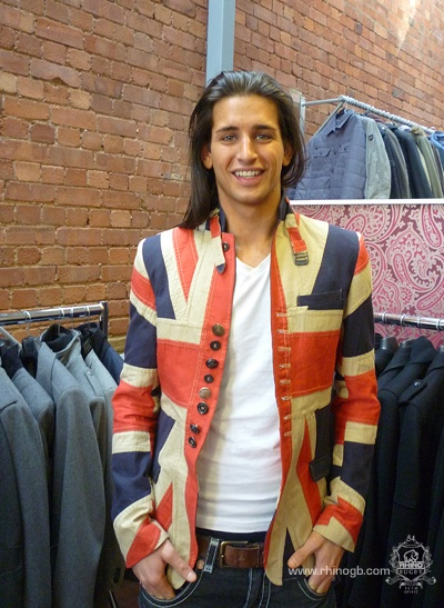 Union Jack print jacket..The guy is nice too!!