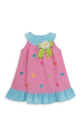 Rare Editions Girls' Flip Flop Seersucker Dress Toddler Girls - Fuchsia - 3T